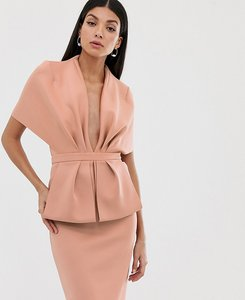 Read more about Asos design tall structured plunge kimono midi dress with peplum