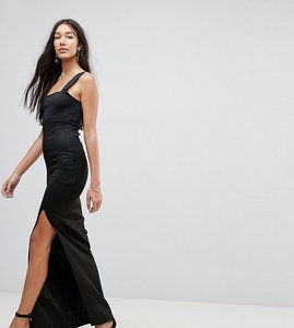 Read more about Asos tall square neck scuba maxi dress with thigh split - black
