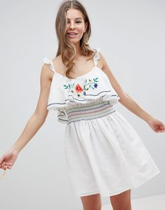 Read more about Asos design embroidered mini skater sundress - multi