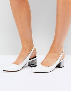 Read more about Truffle collection slingback mid heel shoe - white