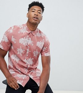 Read more about Asos design tall regular fit floral shirt in pink - pink