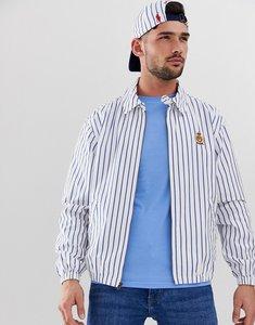 Read more about Polo ralph lauren bayport crest badge stripe oxford lightweight harrington jacket in white blue