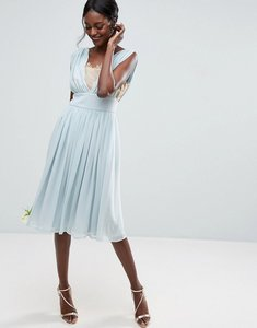 Read more about Asos wedding contrast lace insert midi dress - blue