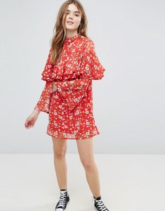 Read more about Influence floral dress with ruffle layers and flare sleeve - red floral