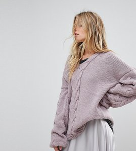 Read more about Oneon hand knitted deep v cable jumper - lilac