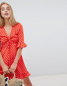 Read more about Qed london polka dot tea dress with frill details - red