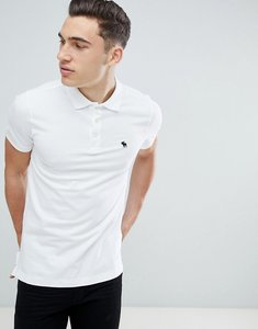 Read more about Abercrombie fitch pique polo stretch slim fit icon in white - white