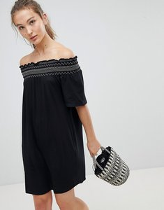 Read more about New look shirred contrast stitch bardot beach dress - black