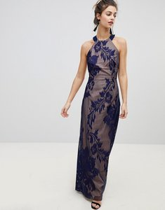 Read more about Little mistress halter neck maxi dress with baroque lace overlay - navy