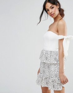 Read more about Missguided tie shoulder lace peplum dress - multi