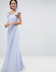 Read more about Asos square neck ruffle strap maxi dress with panelled skirt - dusty blue
