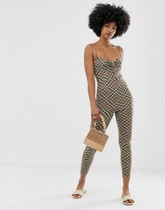 Read more about Emory park tie front fitted jumpsuit in check