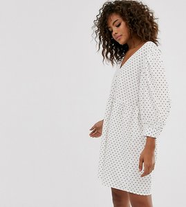 Read more about Asos design tall v front v back smock mini dress in polka dot