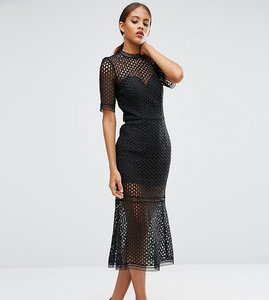 Read more about Jarlo tall cutwork lace overlay midi dress - black