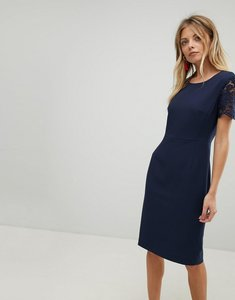 Read more about French connection bodycon lace sleeve dress - nocturnal