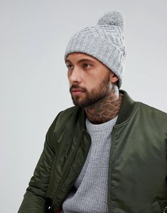Read more about Asos chunky bobble beanie in grey twist - grey