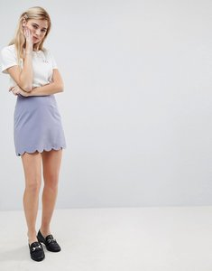 Read more about Asos tailored a-line mini skirt with scallop hem - dusky blue