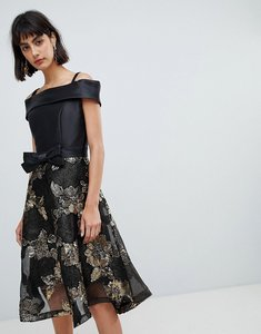 Read more about Amy lynn bardot skater dress with jacquard skirt - black gold