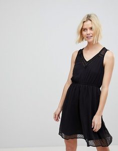 Read more about Vero moda skater dress with lace keyhole - black