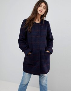 Read more about Abercrombie fitch collarless wool coat - navy pattern