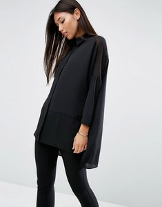 Read more about Asos design soft shirt in sheer and solid - black