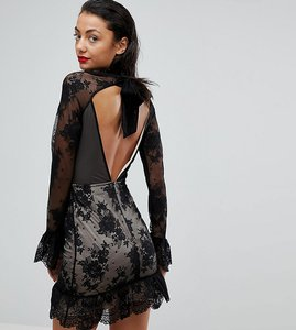Read more about Asos tall high neck open back lace mini dress - black