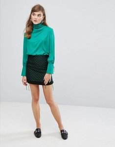 Read more about Sister jane wrap front mini skirt in embroidered star - black