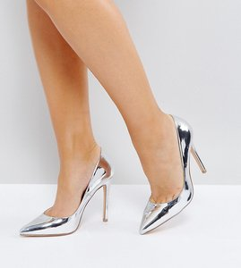 Read more about Faith wide fit chloe pewter metallic court shoes - pewter metallic