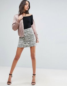 Read more about Asos ruffle front animal print a line mini skirt - multi