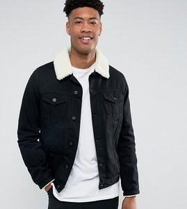 Read more about Asos tall denim jacket with borg collar in black wash - black