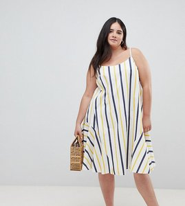 Read more about Asos design curve stripe swing trapeze midi sundress with lace up back - multi
