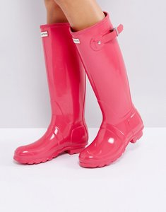 Read more about Hunter original tall bright pink gloss wellington boots - bright pink