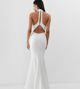 Read more about Jarlo tall high neck trophy maxi dress with open back detail in white