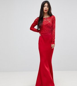 Read more about City goddess petite bow back maxi dress with lace body - red