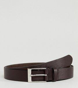 Read more about Asos plus smart slim belt in brown leather with saffiano emboss - brown
