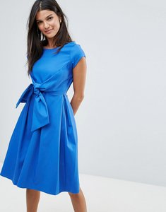 Read more about Closet short sleeve v back tie front dress - blue