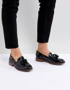 Read more about H by hudson leather tassle flat shoes - black
