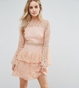 Read more about John zack petite all over premium lace top tiered prom mini dress - nude