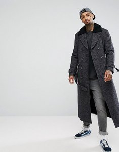 Read more about Asos wool mix long lined trench coat in check - navy