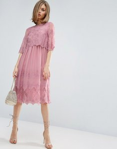 Read more about Asos premium double layer pretty embroidered dress - pink