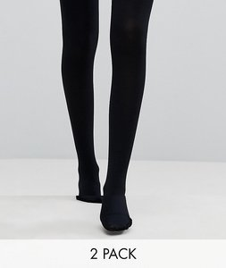 Read more about Asos design 2 pack 120 denier tights - black