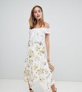 Read more about Asos design petite wrap midi skirt in floral print with lace inserts - floral print