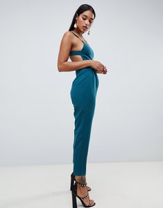 Read more about Asos design square neck jumpsuit with gold trim detail - teal
