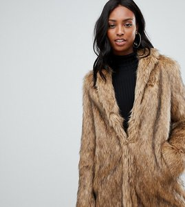 Read more about Asos design tall stand collar faux fur coat - brown