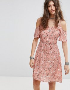 Read more about Rage cold shoulder floral print midi dress - pink print