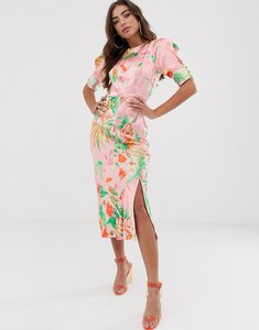 Read more about Asos design bias midi dress with puff sleeves in satin tropical print