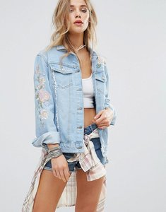 Read more about New look embroidered pastel denim jacket - mid blue