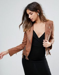 Read more about Brave soul faux leather jacket with fringe detail - tan