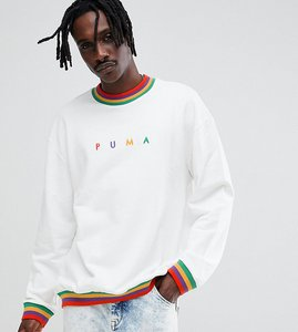 Read more about Puma organic cotton sweat with small logo in white exclusive to asos - white