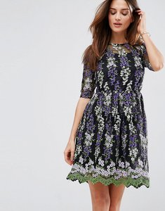 Read more about Club l embroidery skater tea dress - black orange lilac